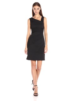 Adrianna Papell Women's Sleeveless Bodycon Ottoman and Lace Assymetrical Dress