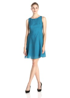 Adrianna Papell Women's Sleeveless Burnout Stripe Fit and Flare Dress