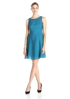 Adrianna Papell Women's Sleeveless Burnout Stripe Fit-and-Flare Dress
