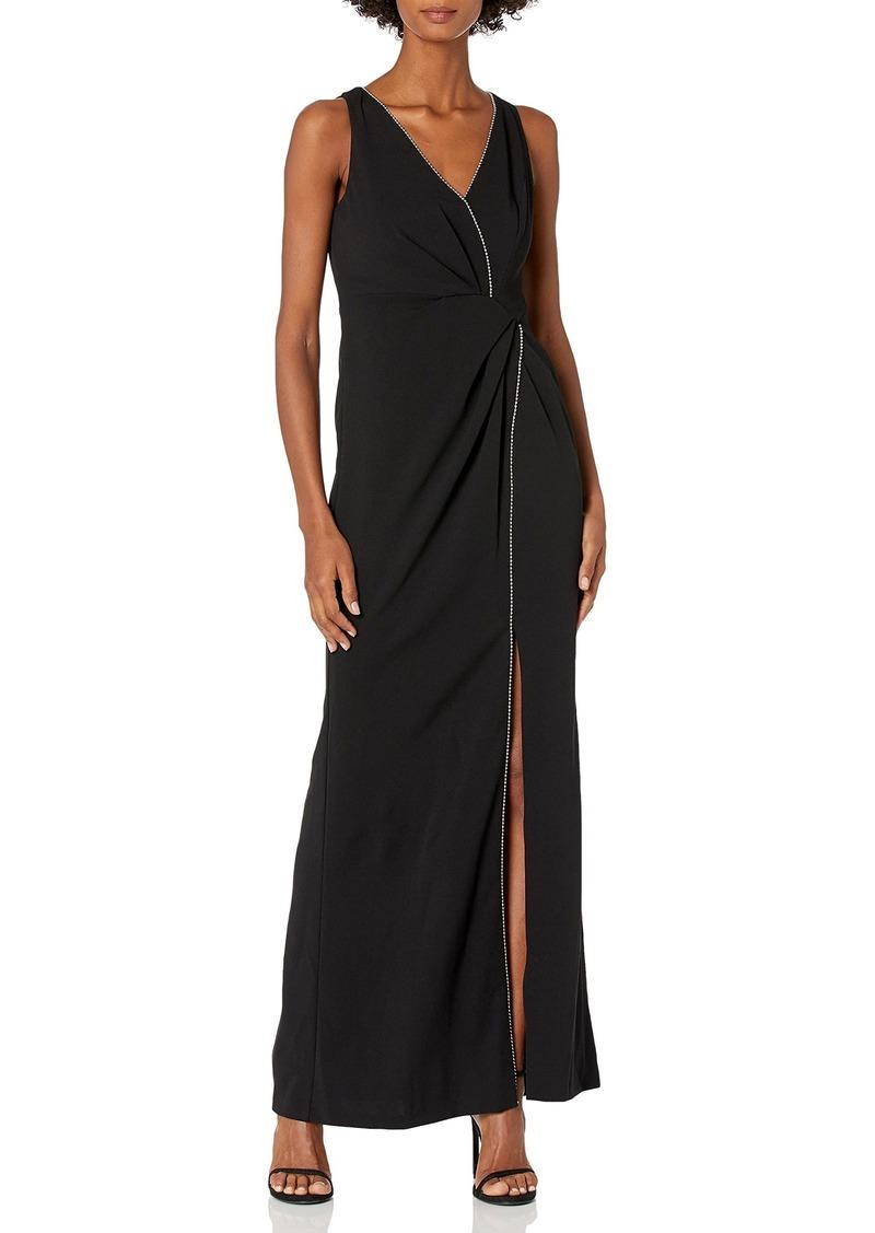 Adrianna Papell Women's Sleeveless Draped Halter Knit Crepe Long Dress