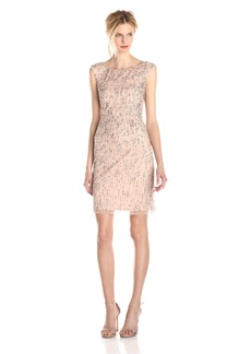 Adrianna Papell Women's Sleeveless Fully Beaded Bateau Neck Cocktail Dress with Scoop Back with Neckline