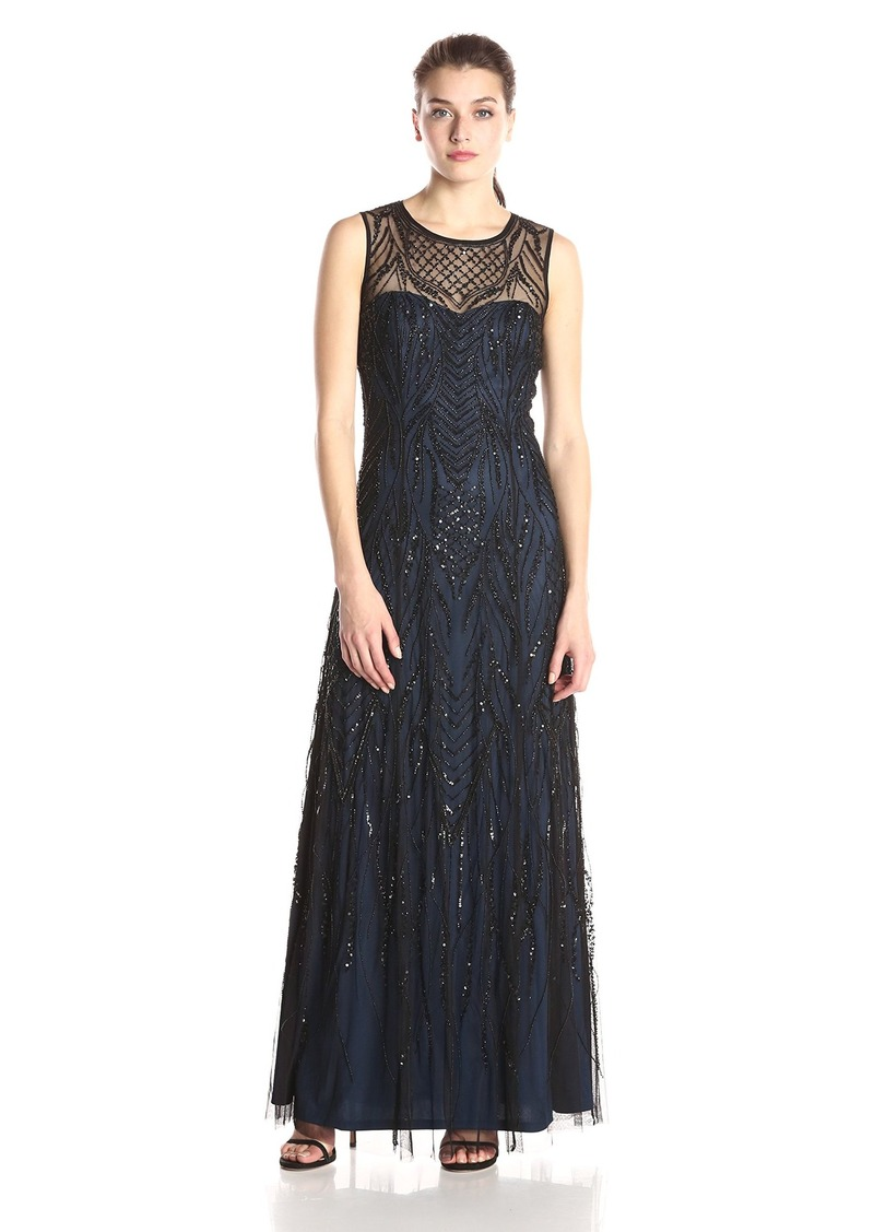 Adrianna Papell Women's Sleeveless Fully Beaded Gown
