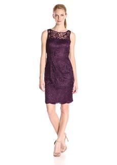Adrianna Papell Women's Sleeveless Guipure Dot Lace Shift Dress