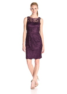 Adrianna Papell Women's Sleeveless Guipure Dot Lace Shift Dress