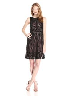 Adrianna Papell Women's Sleeveless Illusion Beaded Lace Dress
