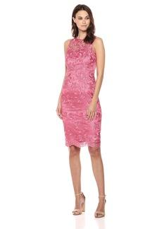 Adrianna Papell Women's Sleeveless Illusion Neckline Guipure LACE MIDI Dress