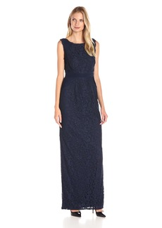 Adrianna Papell Women's Sleeveless Jersey and Lace Gown with Waist Detail
