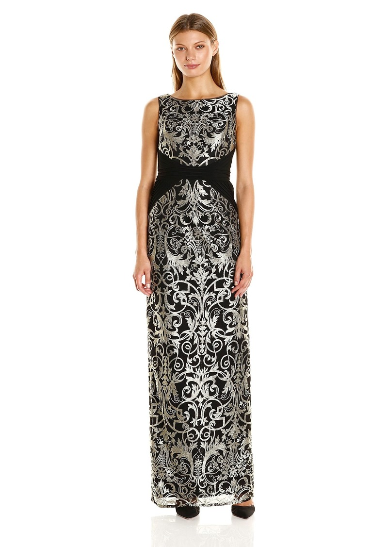 Adrianna Papell Women's Sleeveless Jersey Lace Column Gown