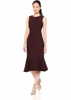 Adrianna Papell Women's Sleeveless Knit Modern Sheath Dress BlackBerry Wine