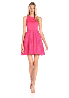 Adrianna Papell Women's Sleeveless Lace and Faille Fit-and-Flare Party Dress
