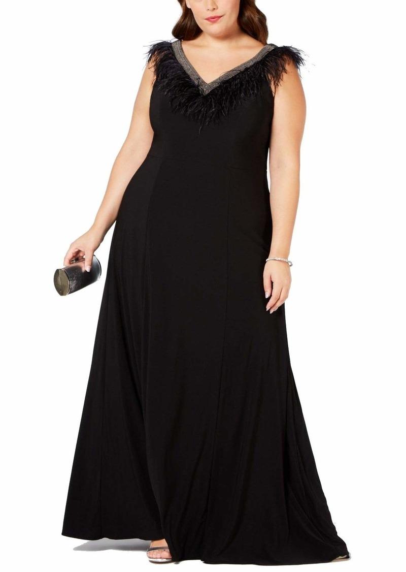 Adrianna Papell Women's Sleeveless Matte Jersey Long Dress with Beaded Trim