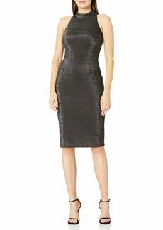 Adrianna Papell Women's Sleeveless Metallic Mock Neck Dress