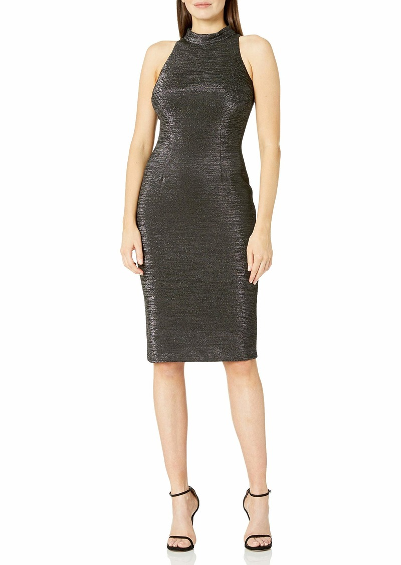 Adrianna Papell Women's Sleeveless Metallic Mock Neck Dress