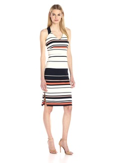 Adrianna Papell Women's Sleeveless Ottoman Stripe Midi Dress  M