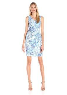 Adrianna Papell Women's Sleeveless Pleat Wrap-Front Sheath Dress