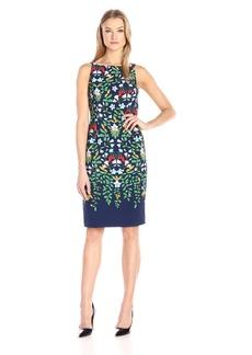 Adrianna Papell Women's Sleeveless Printed Sheath Dress