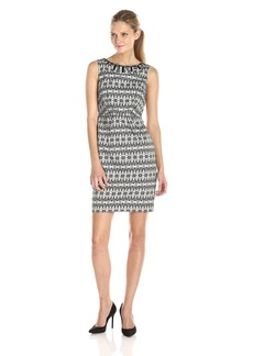 Adrianna Papell Women's Sleeveless Printed Sheath Dress with Embellished Neck