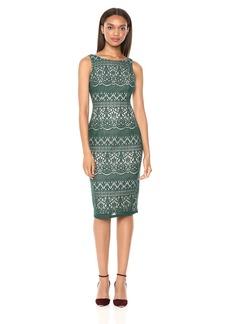Adrianna Papell Women's Sleeveless Scalloped Striped Lace Dress