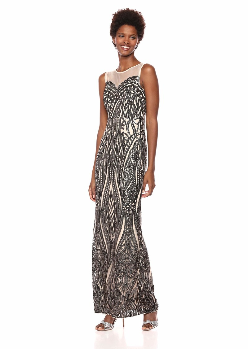 Adrianna Papell Women's Sleeveless Sequin Halter Sheath Long Dress