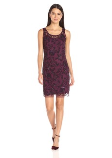 Adrianna Papell Women's Sleeveless Sheath Beaded Cocktail Dress with Tank Lining