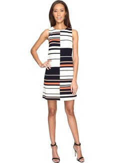 Adrianna Papell Women's Sleeveless Stripe Shift Dress  L