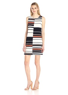 Adrianna Papell Women's Sleeveless Stripe Shift Dress  S