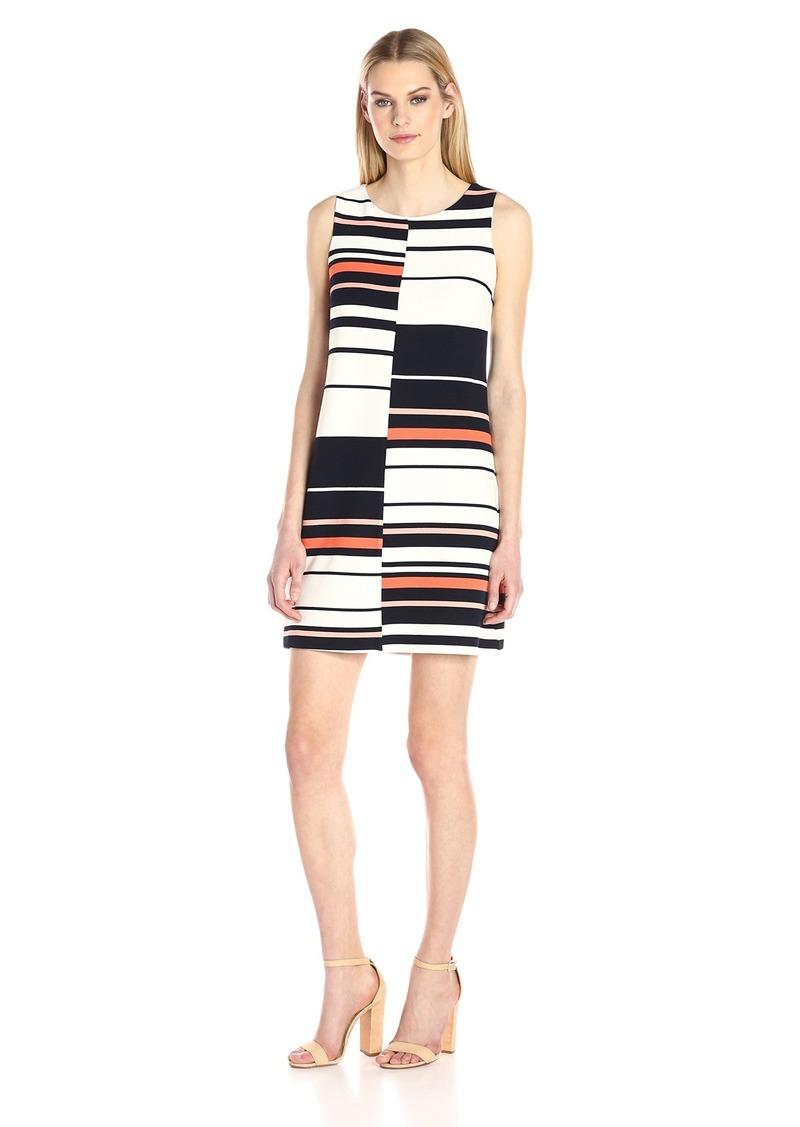 Adrianna Papell Women's Sleeveless Stripe Shift Dress  XS
