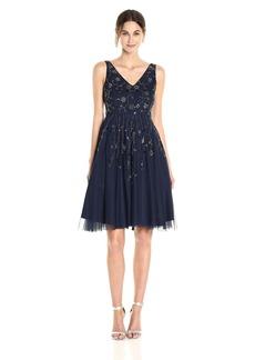 Adrianna Papell Women's Sleeveless Tea Length Bead Dress