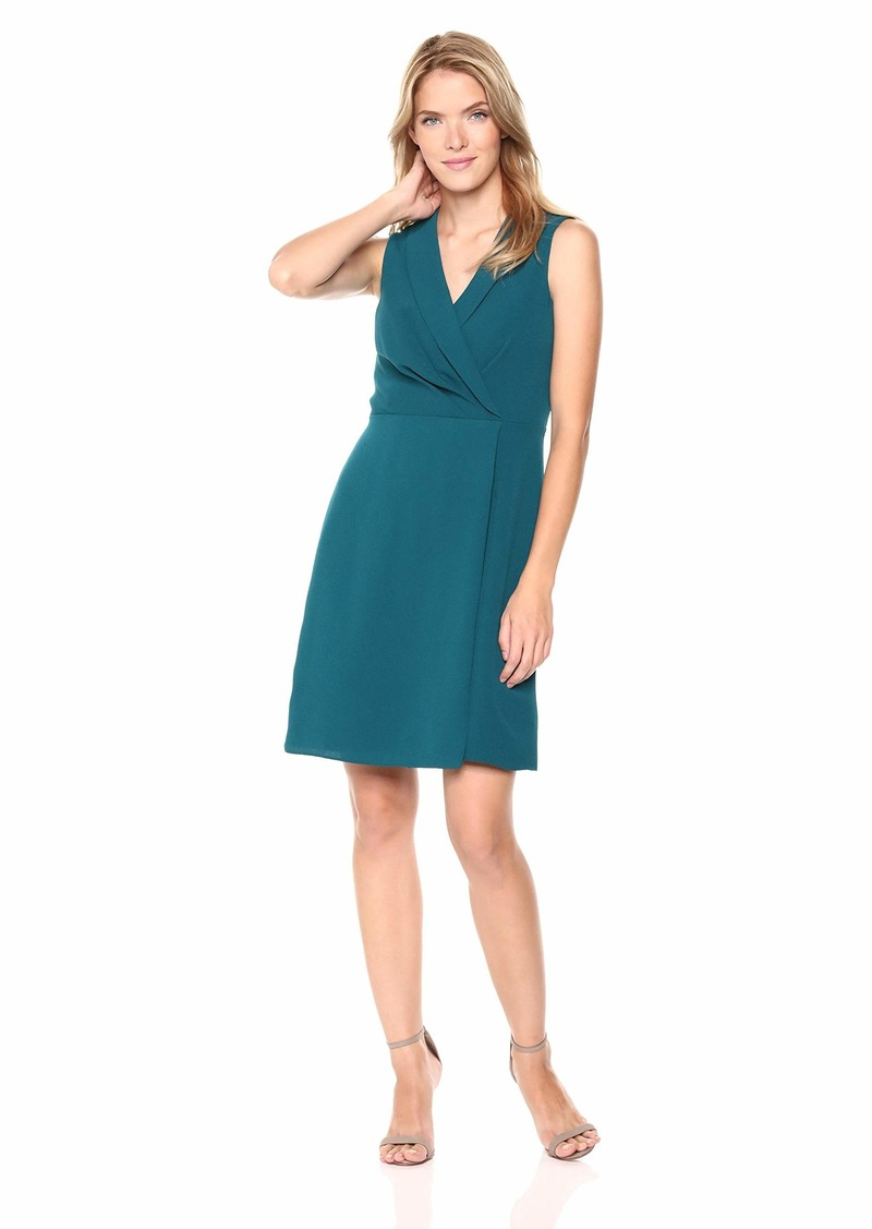 Adrianna Papell Women's Sleeveless Textured Crepe Fabric Modern A-Line Dress deep Teal