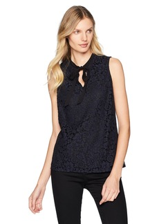 Adrianna Papell Women's Sleeveless Tie Front Lace Top