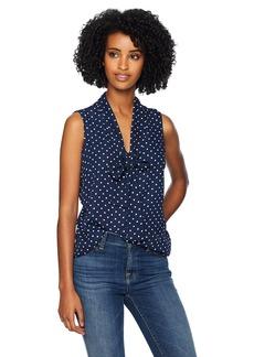 Adrianna Papell Women's Sleeveless TIE Neck Blouse Navy/Ivory  dot