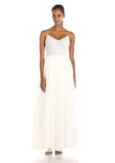 Adrianna Papell Women's Spaghetti Strap Beaded Dress Gown Dress