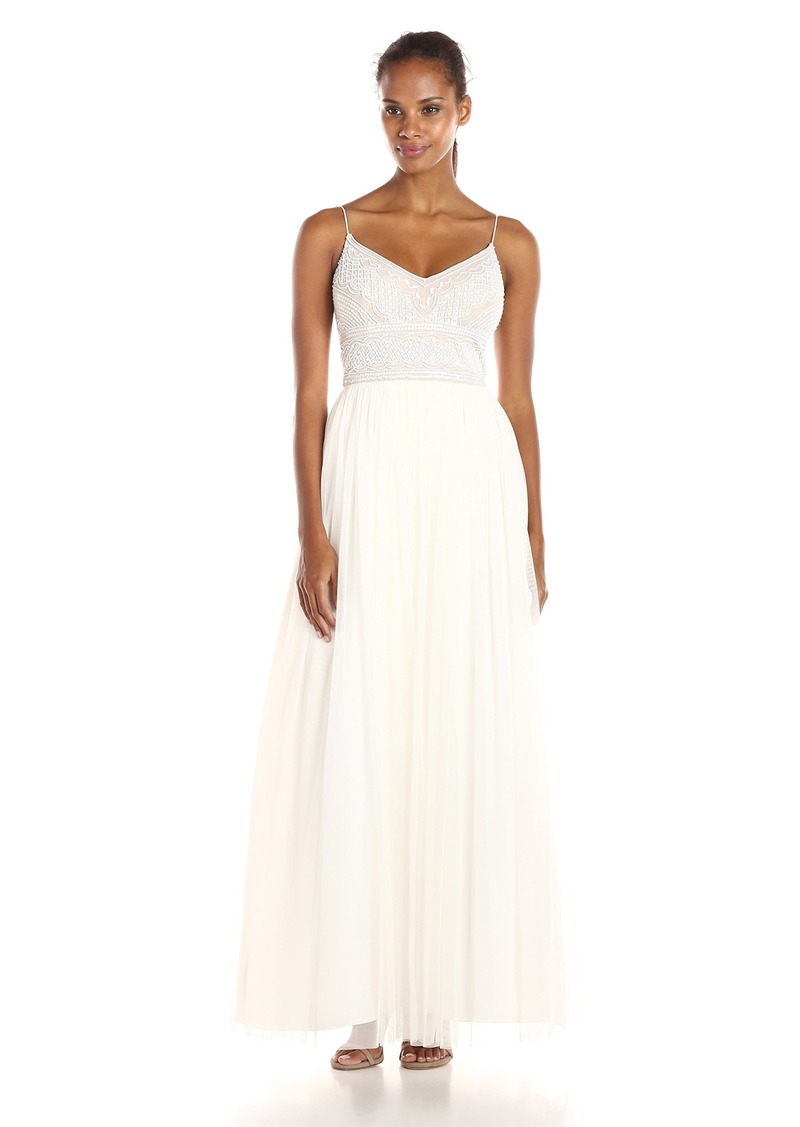 Adrianna Papell Women's Sleeveless V-Neck Beaded Top Gown