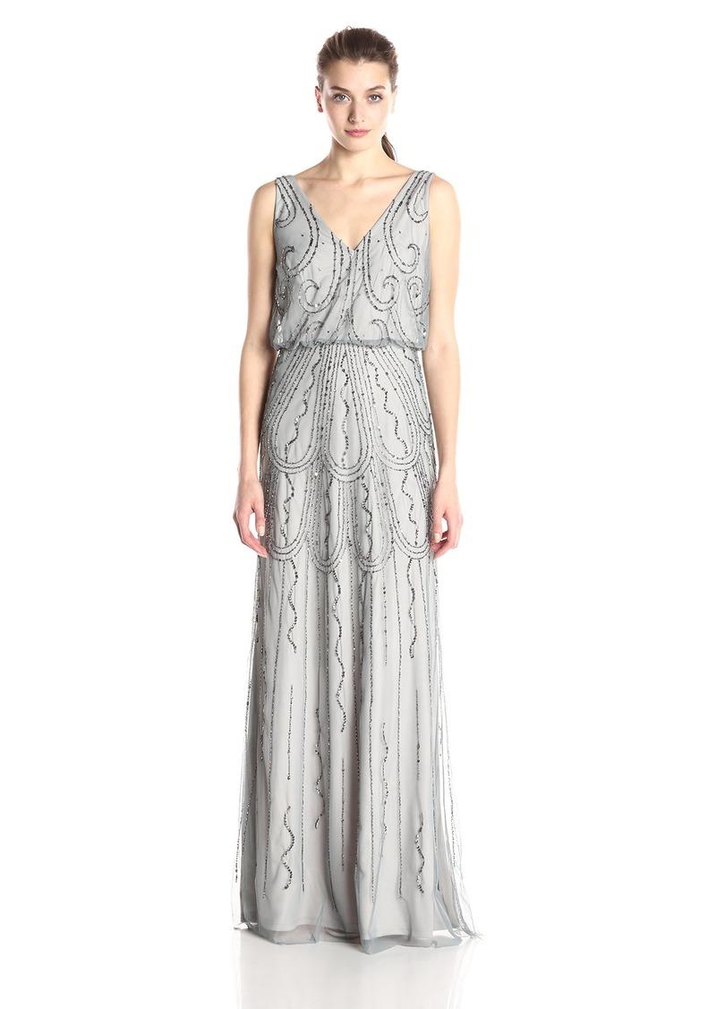 Adrianna Papell Women's Sleeveless V-Neck Blouson Gown