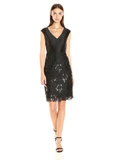 Adrianna Papell Women's Sleeveless V Neck Cocktail Dress