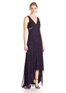 Adrianna Papell Women's Sleeveless V-Neck Long Beaded Gown