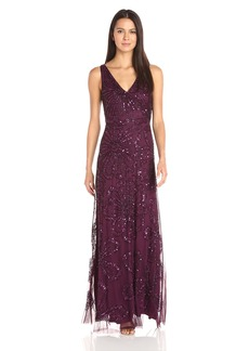 Adrianna Papell Women's Sleeveless Wrap Front Beaded Gown Cassis