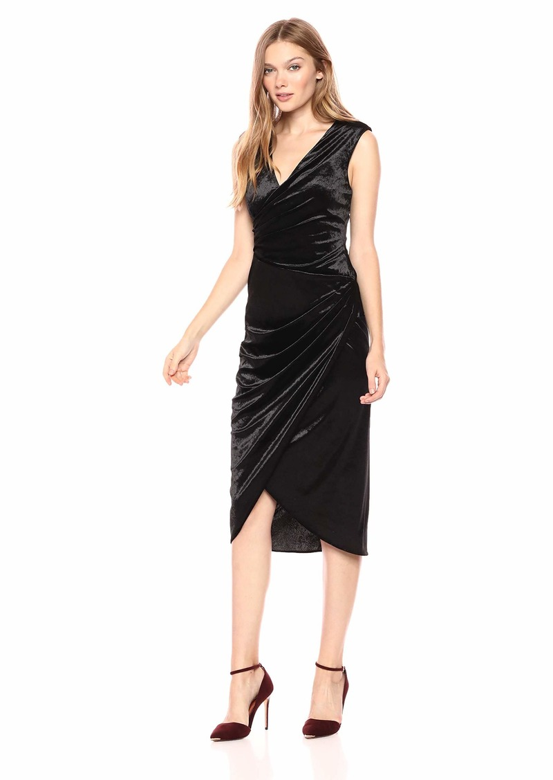 Adrianna Papell Women's Sleeveless Wrap Skirt Midi Length Stretch Velvet Cocktail Dress