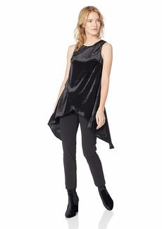 Adrianna Papell Women's Sleeveless Wrap Top Knit Crepe Slim Leg Velvet Jumpsuit