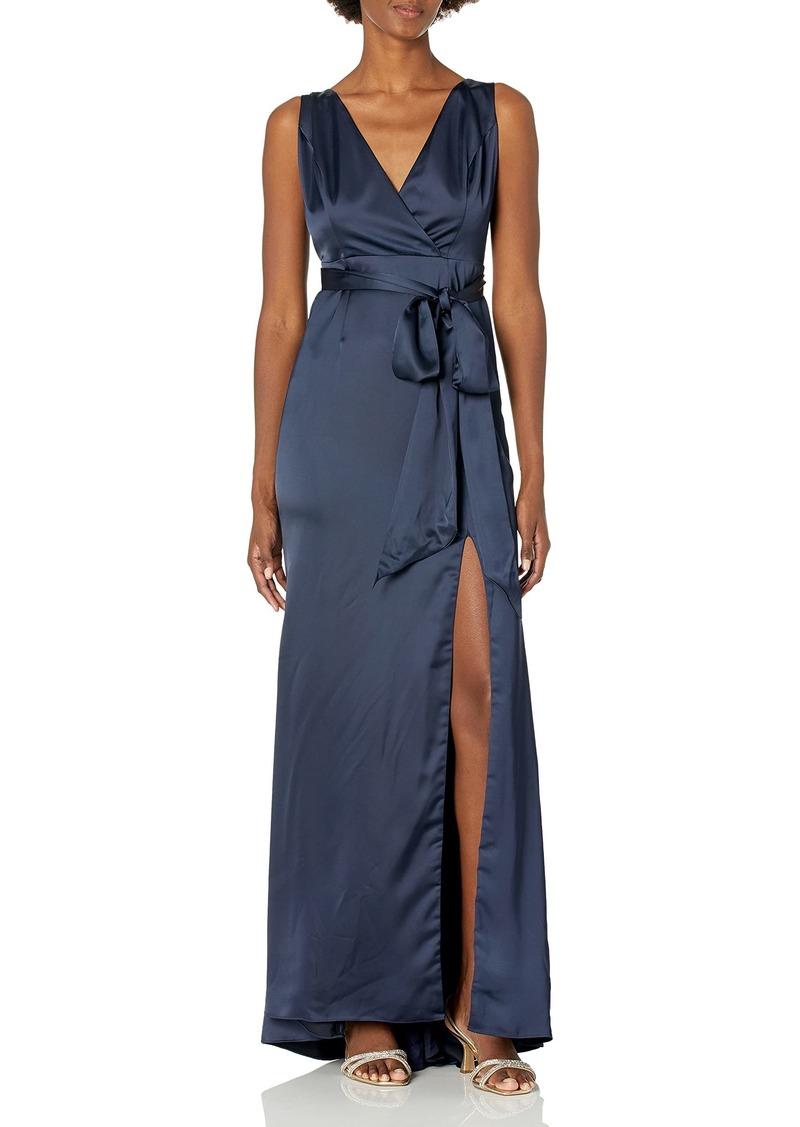 Adrianna Papell Women's Sleevelss Faux WRAP Bodice Light Satin HIGH Slit Dress
