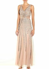 Adrianna Papell Women's Sleevless Beaded Gown with Illusion Waist Detail