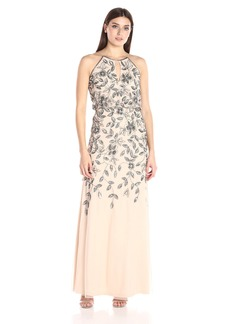 Adrianna Papell Women's Sleevless Beaded Long Halter Gown