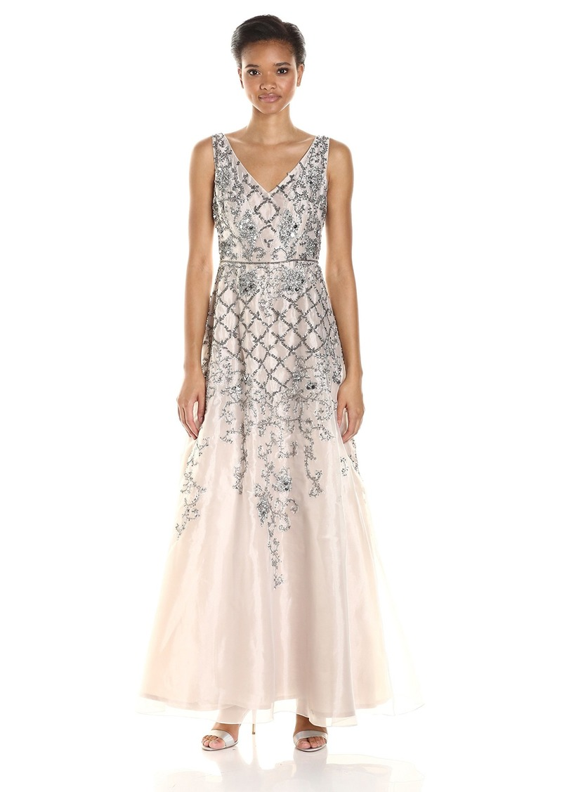 Adrianna Papell Women's Sleevless Beaded Organza V Neck Ball Gown