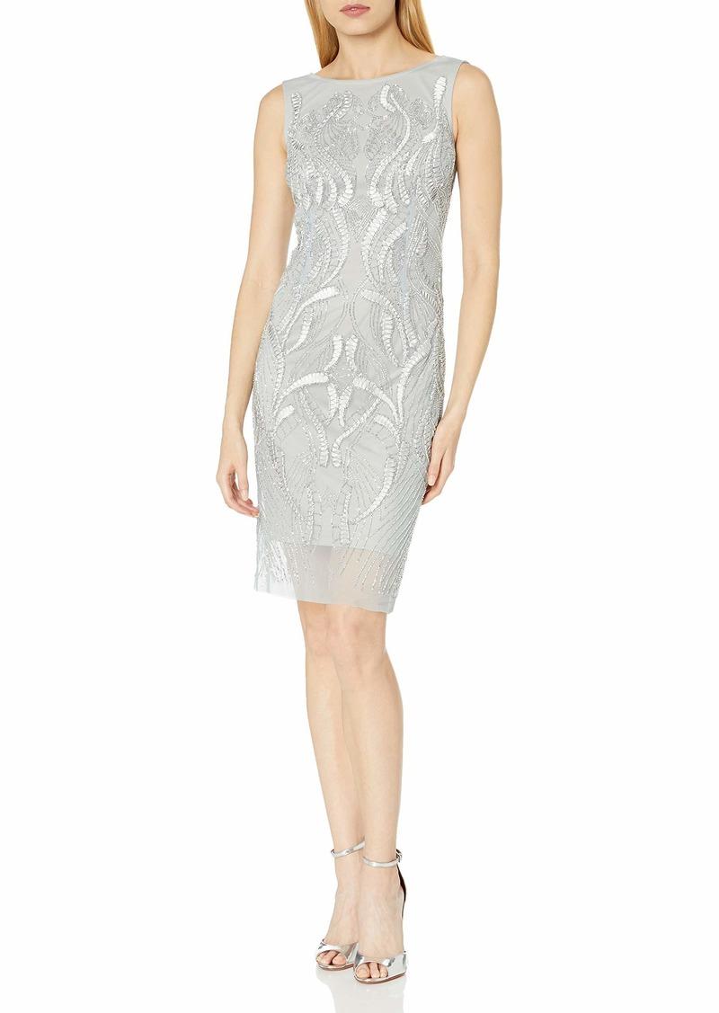Adrianna Papell Women's Sleevless Fully Beaded Coktail Dress