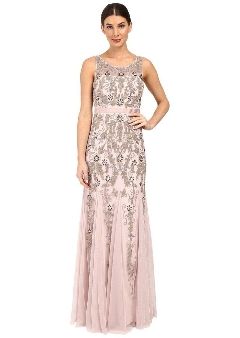 Adrianna Papell Women's Sleevless Illusion Yoke Gown with Godets ICY Lilac
