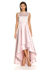 Adrianna Papell Women's Sleevless Lace and Mikado Gown with Hi Low Hem Line