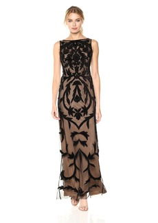 Adrianna Papell Women's Sleevless Long Beaed Gown with Nude Lining Black