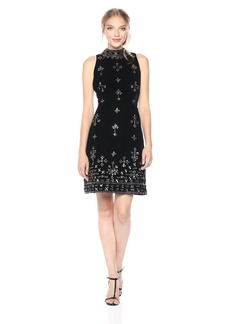 Adrianna Papell Women's Sleevless Mock Neck Beaded Velvet Cocktail Dress