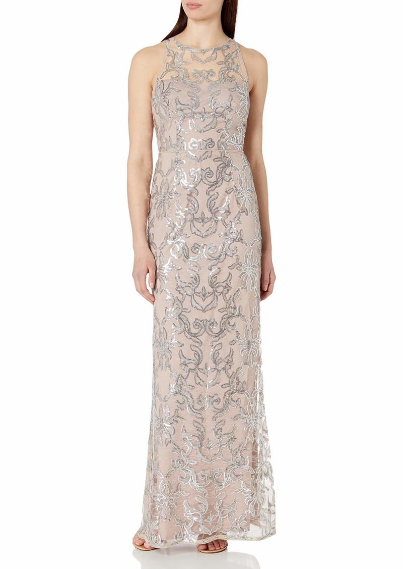 Adrianna Papell Women's Sleevless Sequin Lace Halter Gown