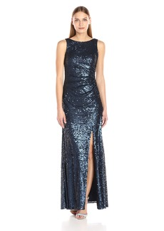 Adrianna Papell Women's Sleevless Sequin Paillette Halter Neck Gown